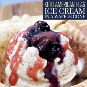 Keto American Flag Ice Cream in a Waffle Cone